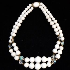 Vintage Necklace; Crisp White with Crystal Accents